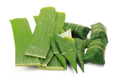 Banana leaf on blank plate for edit food. Or subject on Royalty Free Stock Image