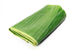Banana leaf on blank plate for edit food. Or subject on Royalty Free Stock Photo