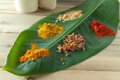 Banana leaf with colorful spices Royalty Free Stock Images