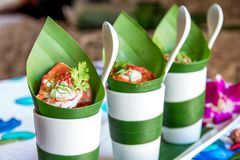 Banana leaf dessert packages royalty free stock photos