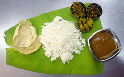 Banana leaf meal Royalty Free Stock Photo