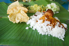 Banana Leaf Rice Royalty Free Stock Photography