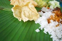 Banana Leaf Rice Royalty Free Stock Photo