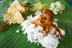 Banana Leaf Rice Stock Photo