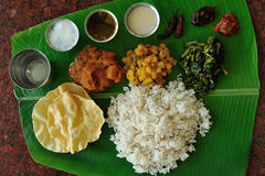 Banana Leaf Rice. Is a traditional method of serving rice dishes in South Indian cuisine stock photo