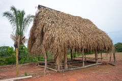 Banana leaf roof shack Stock Images