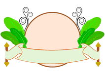 Banana leaf with thai style label Stock Photos