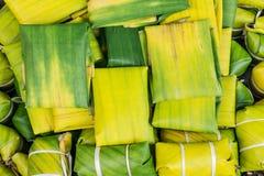 Banana leaf use Thai style dessert Royalty Free Stock Photography