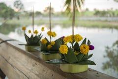 Banana leaf vessel for Loi Krathong Festival Stock Photos