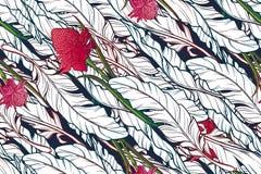 Banana leaves and etligeria flower diagonal pattern Royalty Free Stock Photo
