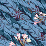 Banana leaves and frangipani flower diagonal pattern Stock Image