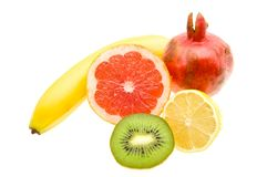 Banana, lemon, kiwi, grapefruit, pomegranate Royalty Free Stock Image
