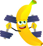 Banana lifting weight Stock Image