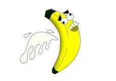 Banana louca com respingo do leite imagens de stock