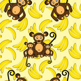 banana małpy wzór bezszwowy Fotografia Royalty Free