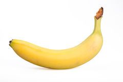 Banana madura isolada no branco fotografia de stock