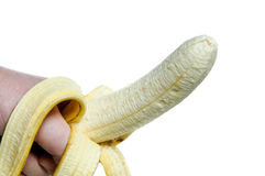 Banana in man hand Royalty Free Stock Images