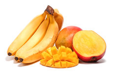 Banana and mango with sliced half. Isolated on white background Royalty Free Stock Photos