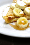 Banana and maple syrup pancake Stock Photo