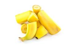 Banana massacre. Pile of banana sliced in pieces royalty free stock photo