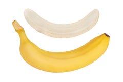 Banana matura Banana sbucciata Fondo bianco isolato Immagine Stock Libera da Diritti