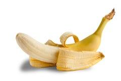 banana Mezzo sbucciata su bianco Fotografia Stock Libera da Diritti