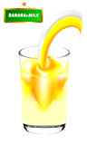 Banana&milk. Banana juice and milk white background Stock Illustration