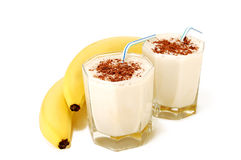 Banana milk cocktail Stock Image