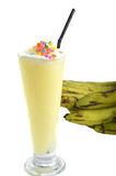 Banana milkshake drink. On white background Royalty Free Stock Photography