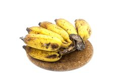 Banana with mold or fungi on the white background. Banana with mold or fungi royalty free stock photos
