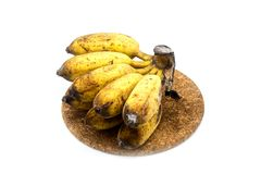 Banana with mold or fungi on the white background. Banana with mold or fungi royalty free stock photo