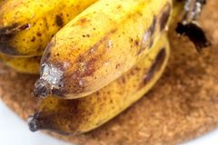 Banana with mold or fungi on the white background. Banana with mold or fungi royalty free stock images