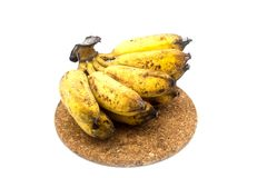Banana with mold or fungi on the white background. Banana with mold or fungi stock photography