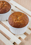 Banana muffin cake on wooden background Stock Images