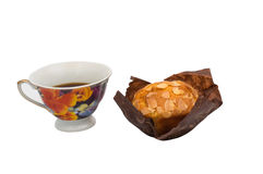 Banana muffin with a cup Stock Images