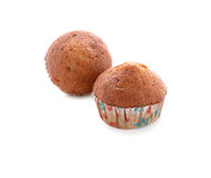 Banana muffin cupcake on white Royalty Free Stock Photo