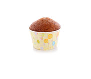 Banana muffin cupcake on white Royalty Free Stock Images