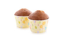 Banana muffin cupcake on white Royalty Free Stock Photography