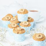 Banana muffin, cupcakes in blue cake cases paper, side view, white concrete table. Banana muffin, cupcakes in a blue cake cases paper, side view, white concrete royalty free stock photo