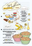 Banana muffin recipe with pictures of ingredients stock illustration