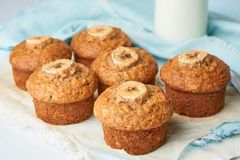 Banana muffin, side view, close up. Cupcakes on blue napkin with milk in bittle, white concrete table stock images