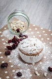 Banana muffin with sunflower seeds and dried cranberries on a napkin with polka dots Royalty Free Stock Photo