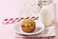 Banana muffin with walnuts and white chocolate Royalty Free Stock Photo