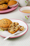Banana Muffins. With cup of tea Stock Photo