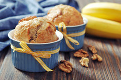 Banana muffins in baking mold Stock Image
