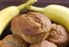 Banana muffins on a black plate Royalty Free Stock Images