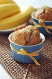 Banana muffins in ceramic baking mold Stock Photography