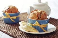 Banana muffins in ceramic baking mold Stock Photo