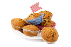 Banana muffins with chocolate Royalty Free Stock Photos