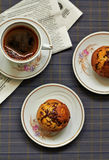 Banana muffins with chocolate. Top view Stock Images